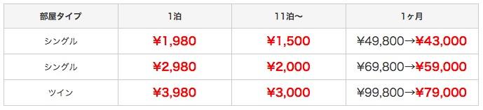 Price-tabel